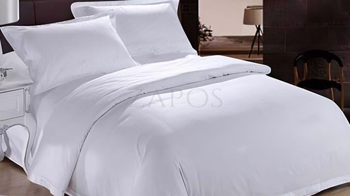 Lenjerie de pat 2 persoane BUMBAC SATINAT - 4 piese - Alb, culoare uni