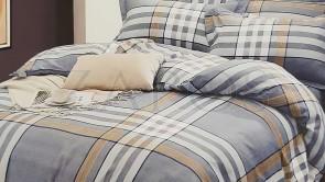 Lenjerie pat 2 persoane BUMBAC FINET - 4 piese - Gri, model carouri mari cu maro si bleu