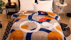 Patura 2 persoane COCOLINO - Bej, model cercuri suprapuse in culori diferite