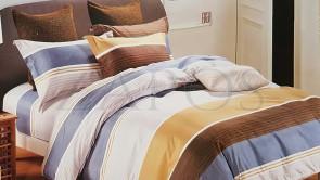 Lenjerie pat 2 persoane BUMBAC FINET - 4 piese - Albastru, model 2 fete dungi de culori diferite si linii suprapuse