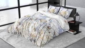 Lenjerie pat 2 persoane BUMBAC SATINAT - 3 piese - Bleu, model spice de grau pe fundal de cer-240 x 220