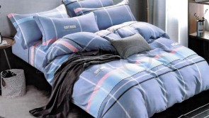"Lenjerie pat 2 persoane BUMBAC FINET - 4 piese - Bleu, model linii verticale si orizontale ""Soft Rock"""
