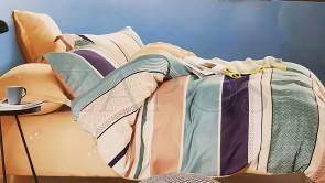 Lenjerie pat 2 persoane BUMBAC FINET - 4 piese - Galben, model linii orizontale late colorate diferit si imprimate