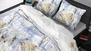 Lenjerie pat 2 persoane FLANEL - 3 piese - Bleu, model spice de grau pe fundal de cer