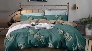 Lenjerie pat 2 persoane BUMBAC FINET - 4 piese - Verde inchis, model 2 fete frunze verzi