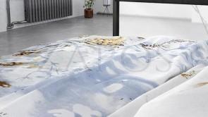 Lenjerie pat 2 persoane BUMBAC SATINAT - 3 piese - Bleu, model spice de grau pe fundal de cer