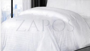 Lenjerie hoteliera damasc 2 persoane FINET - 6 piese - Alb, model margine de patrate