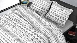 Lenjerie pat 2 persoane BUMBAC SATINAT - 3 piese - Alb, model cu diferite forme grafice