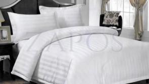 Lenjerie hoteliera damasc 2 persoane FINET - 6 piese - Alb, model linii late