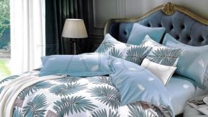 """Lenjerie pat 2 persoane BUMBAC FINET - 4 piese - Turcoaz, model frunze """"leaves"""""""