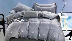Lenjerie pat 2 persoane BUMBAC FINET - 4 piese - Gri inchis, model cu brazi