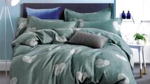 Lenjerie pat 2 persoane BUMBAC FINET - 4 piese - Verde, imprimeu inimi verde pal