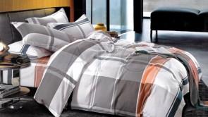 Lenjerie pat 2 persoane BUMBAC FINET - 4 piese - Gri, model carouri alb si portocaliu