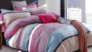 Lenjerie pat 2 persoane BUMBAC FINET - 4 piese - Roz, model dungi multicolore