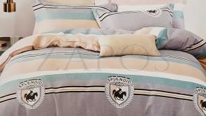 Lenjerie pat 2 persoane BUMBAC FINET - 4 piese - Galben, model 2 fete linii late si inguste in diferite nuante