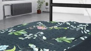 Lenjerie pat 2 persoane BUMBAC SATINAT - 3 piese - Verde inchis, model buchete de flori-240 x 220