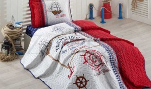 Cuvertura pat 1 persoana BUMBAC RANFORCE - 2 piese - Alb, model barca si elemente rosii si maro