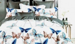 Lenjerie pat 2 persoane BUMBAC FINET - 6 piese - Alb, model 2 fete fluturi crem si albastri