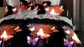 Lenjerie pat 2 persoane BUMBAC FINET - 6 piese - Negru, model fluturi in lumina