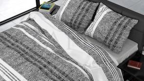 Lenjerie pat 2 persoane BUMBAC SATINAT - 3 piese - Gri, imprimeu grafic si linii orizontale-200 x 220
