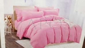 Lenjerie pat 2 persoane BUMBAC SATINAT - 4 piese - Roz pal, culoare uni ZAP-1001-30.8