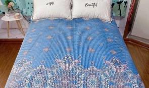 Cuvertura pat dublu CATIFEA PLUSATA - Albastru, model oriental minimalist-1