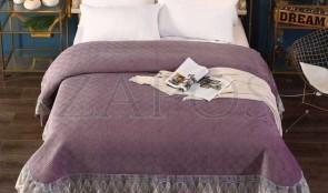 Cuvertura pat dublu CATIFEA PLUSATA - Mov inchis, culoare uni cu aplicatii de tul in partea de jos-1