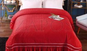 Cuvertura pat dublu CATIFEA PLUSATA - Rosu, culoare uni cu volan in partea de josa-1