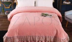 Cuvertura pat dublu CATIFEA PLUSATA - Roz somon, culoare uni cu aplicatii de tul in partea de jos-1
