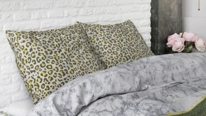 Lenjerie pat 2 persoane BUMBAC - 3 piese - Animal print, model cu dungi imprimate-240 x 220