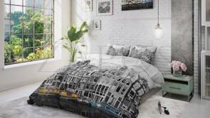 Lenjerie pat 1 persoana 100% BUMBAC - 2 piese - Gri, peisaj alb-negru din Amsterdam-140 x 220