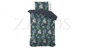 Lenjerie pat 2 persoane BUMBAC SATINAT - 3 piese - Verde inchis, model buchete de flori