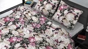 Lenjerie pat 2 persoane BUMBAC SATINAT - 3 piese - Roz, imprimeu bujori si frunze