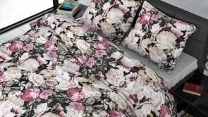 Lenjerie pat 2 persoane BUMBAC SATINAT - 3 piese - Roz, imprimeu bujori si frunze-240 x 220