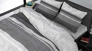 Lenjerie pat 2 persoane BUMBAC SATINAT - 3 piese - Gri, model patrate mici si dungi late-200 x 220