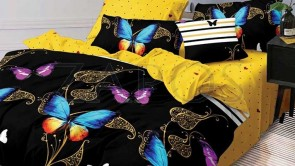 Lenjerie pat 2 persoane BUMBAC FINET - 6 piese - Negru, model fluturi colorati si imprimeu interior galben