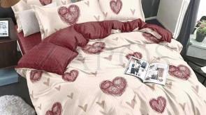 Lenjerie pat 2 persoane BUMBAC FINET - 6 piese - Crem, inimi roz si imprimeu interior roz pudra