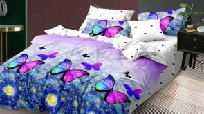 Lenjerie pat 2 persoane BUMBAC FINET - 6 piese - Lila, model in degrade si fluturi in diferite nuante
