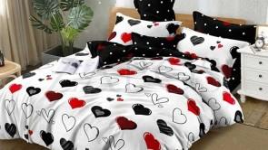 Lenjerie pat 2 persoane BUMBAC FINET - 6 piese - Alb, model inimi forme si culori diferite sI imprimeu interior negru