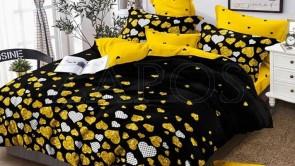 Lenjerie pat 2 persoane BUMBAC FINET - 6 piese - Negru, model inimi mici si imprimeu interior gralben