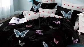 Lenjerie pat 2 persoane BUMBAC FINET - 6 piese - Negru, model fluturi colorati si imprimeu interior cu inimi