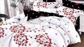 Lenjerie pat 2 persoane BUMBAC FINET - 6 piese - Alb, model fluturi mici rosii si imprimeu interior negru