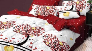 Lenjerie pat 2 persoane BUMBAC FINET - 6 piese - Alb, model pomi si imprimeu interior rosu