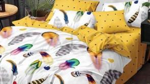 Lenjerie pat 2 persoane BUMBAC FINET - 6 piese - Alb, model pene colorate si imprimeu interior galben