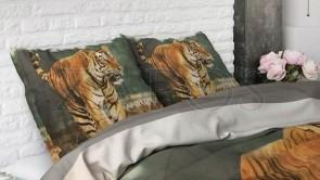 Lenjerie pat 1 persoana 100% BUMBAC - 2 piese - Verde, model tigru imprimat-140 x 220