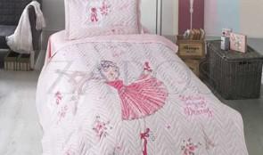 Cuvertura pat 1 persoana BUMBAC RANFORCE - 2 piese - Roz pal, model balerina si Turnul Eiffel
