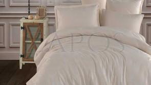 Lenjerie pat model Jacquard 2 persoane BUMBAC - 4 piese - Galben, model abstract cu linii ondulate pe fundal alb