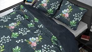 Lenjerie pat 2 persoane BUMBAC SATINAT - 3 piese - Verde inchis, model buchete de flori-200 x 220