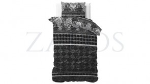 Lenjerie pat 1 persoana 100% BUMBAC - 2 piese - Negru, model romburi si imprimeu interior alb-140 x 220