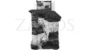 Lenjerie pat 1 persoana 100% BUMBAC - 2 piese - Negru, model familie de tigri albi-140 x 220